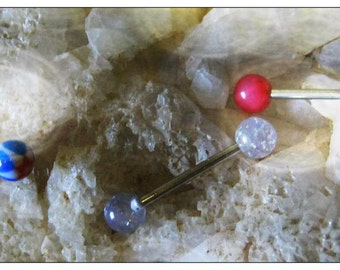 Buy 3 Barbells Surgical Steel 30mm with Acrylic Beads by IreneDesign2011