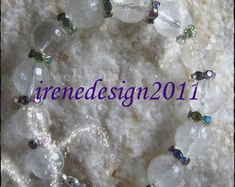 Handmade Silver Bracelet with Facetted Rock Crystal & Multi Color Crystals by IreneDesign2011
