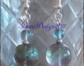 Handmade Silver Earrings with Fluorite by IreneDesign2011