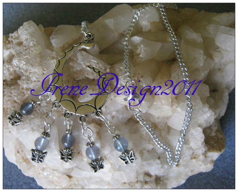 Handmade Silver Necklace with Blue Fluorite & Butterflies by image 0