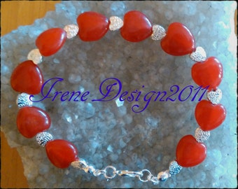 Ruby Hearts & Silver Hearts Bracelet by IreneDesign2011