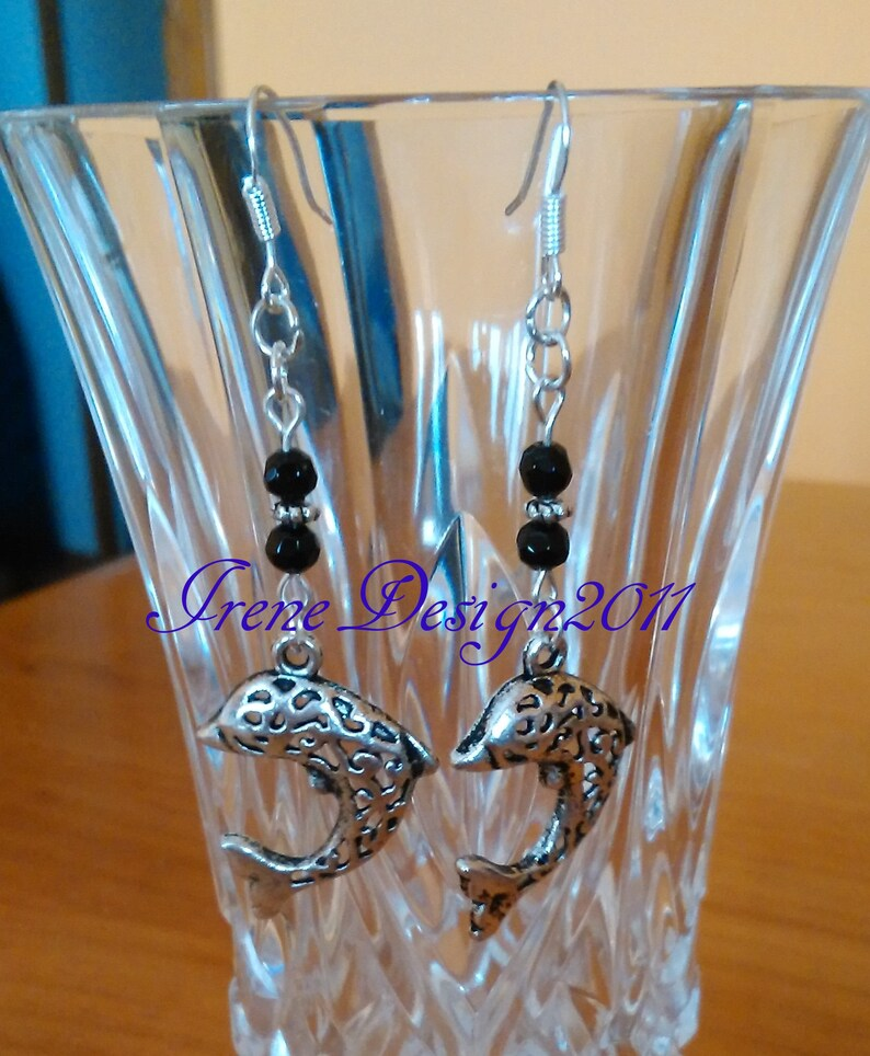 Dolphins & Facetted Black Onyx Earrings by IreneDesign2011 image 0