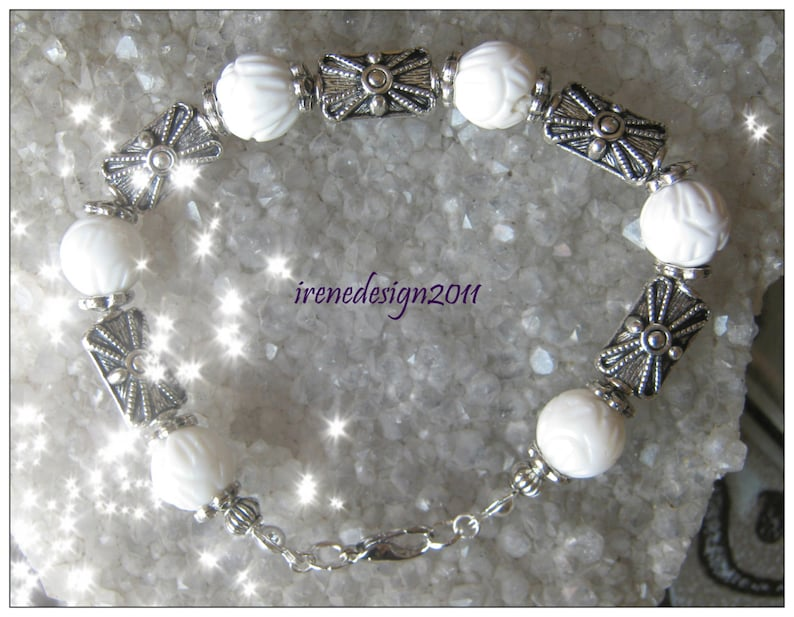 Carved White Coral & Silver Bracelet by IreneDesign2011 image 0