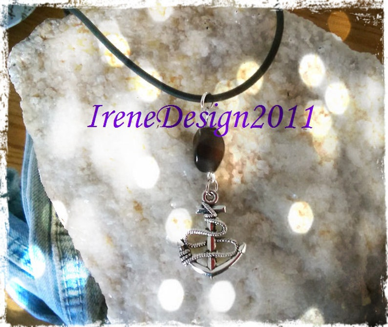 Leather Cord with Brown Cat Eye & Anchor by IreneDesign2011 image 0