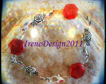 Handmade Silver Bracelet with Orange Agate & Roses by IreneDesign2011