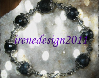 Handmade Silver Bracelet with Facetted Labradorite by IreneDesign2011