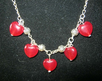 Handmade Silver Necklace with Red Ruby Hearts by IreneDesign2011