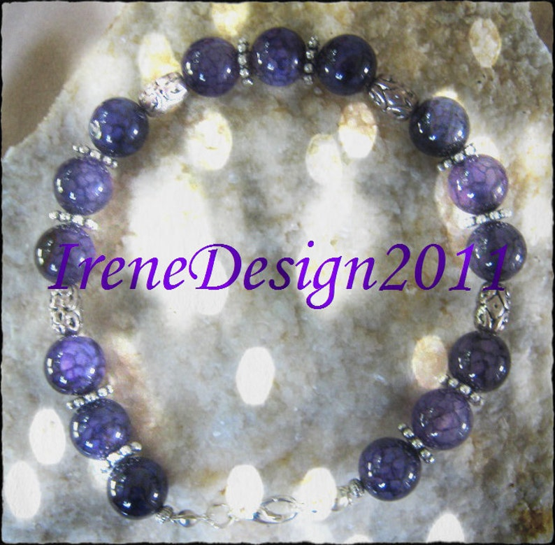 Handmade Silver Bracelet with Purple Dream Dragon Vein Agate image 0
