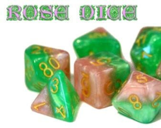 Halfsies Rose Dice 7-Die Polyhedral Dice Set - Gate Keeper Games