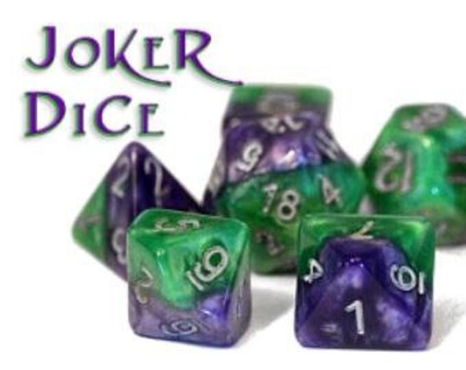 Halfsies Joker Dice 7-Die Polyhedral Dice Set - Gate Keeper Games