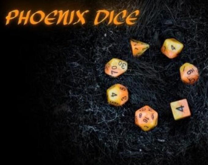 Halfsies Phoenix Dice 7-Die Polyhedral Dice Set - Gate Keeper Games