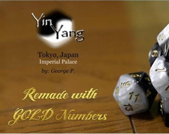 Halfsies Yin Yang Gold 7-Die Polyhedral Dice Set - Gate Keeper Games