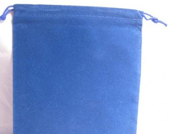 Dice Bags: Velour Pouch Bag - Large Blue (5in x 7in)