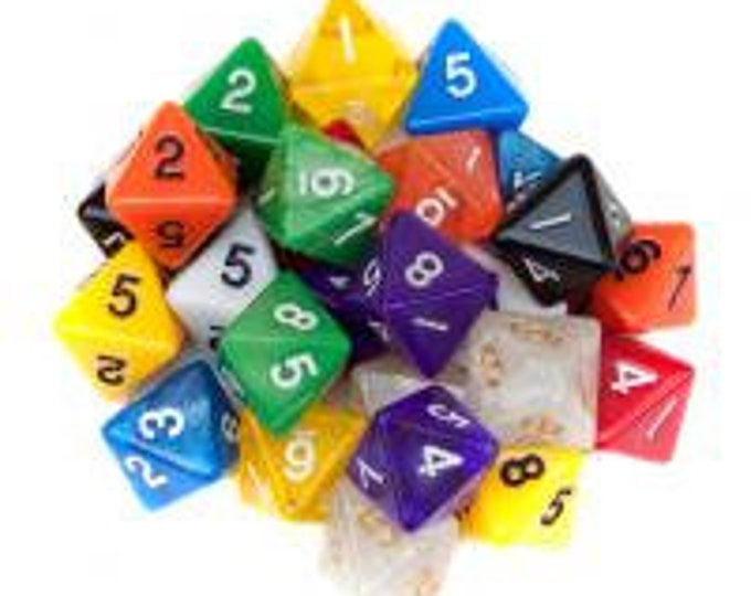 WizDice 25 Pack of Random D8 Polyhedral Dice in Multiple Colors