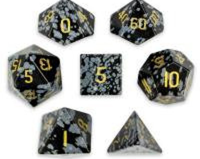 WizDice Set of 7 Handmade Stone Polyhedral Dice (Snowflake Obsidian)