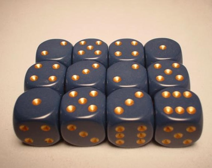 Dusty Blue/Copper Opaque 16mm d6 (12) - CHX25626 - Chessex
