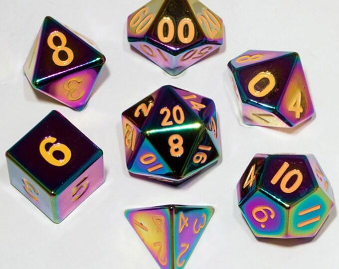 7-Die Set Metal: Rainbow Painted - MTD014 - Metallic Dice Games