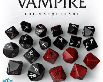Vampire: The Masquerade Dice Set (20 Custom 10-sided Dice) - Modiphius Entertainment