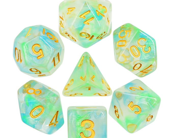 HDDice 7 Die Polyhedral Pearl Swirl Dice Set (Blue-Green/Gold) - Purchasing Cooperative