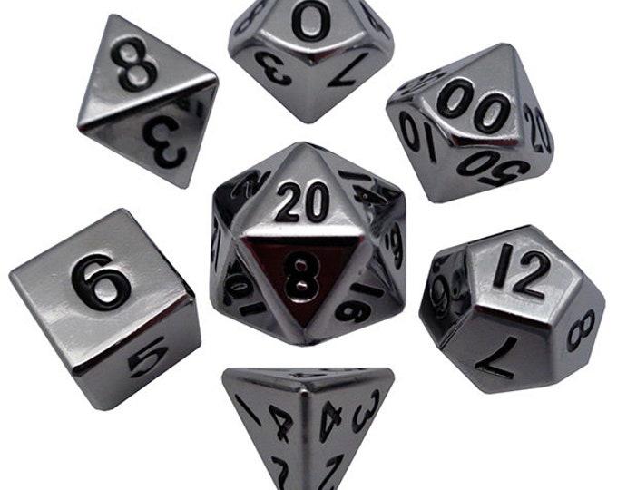 7-Die Set Metal: Silver - MTD002 - Metallic Dice Games