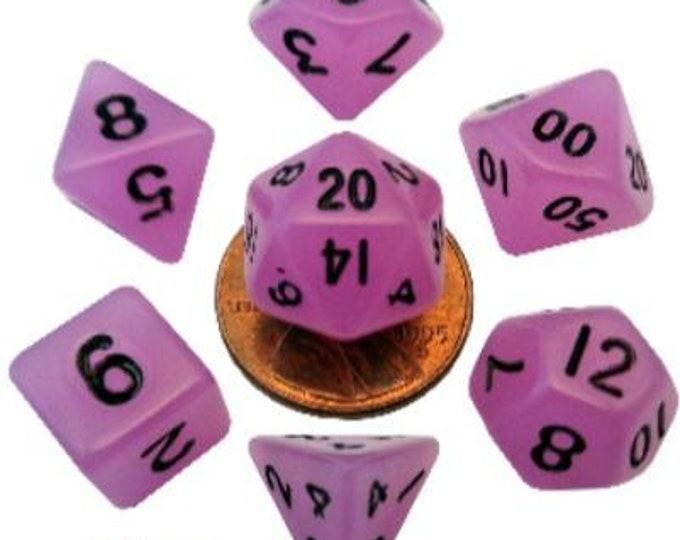 Metallic Dice Games 7 Die Polyhedral Mini Glow in the Dark Dice Set (Purple/Black) - Purchasing Cooperative