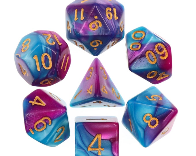 HDDice 7 Die Polyhedral Blended Dice Set (Bright Blue-Purple/Gold) - Purchasing Cooperative