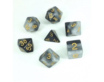 HDDice 7 Die Polyhedral Layered Dice Set (Grey Gradients) - Purchasing Cooperative