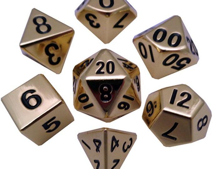 7-Die Set Metal: Gold - MTD001 - Metallic Dice Games
