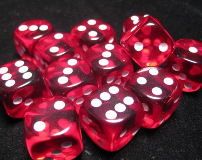 Red/White Translucent 16mm d6 (12) - CHX23604 - Chessex