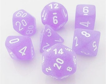 7-Die Set Frosted: Purple/White - CHXLE430 - Chessex