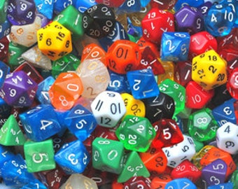 100 d20 Dice of Various Colors - Bulk Dice