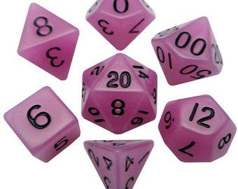 7-Die Set Glow: Purple/Black - MTD307 - Metallic Dice Games