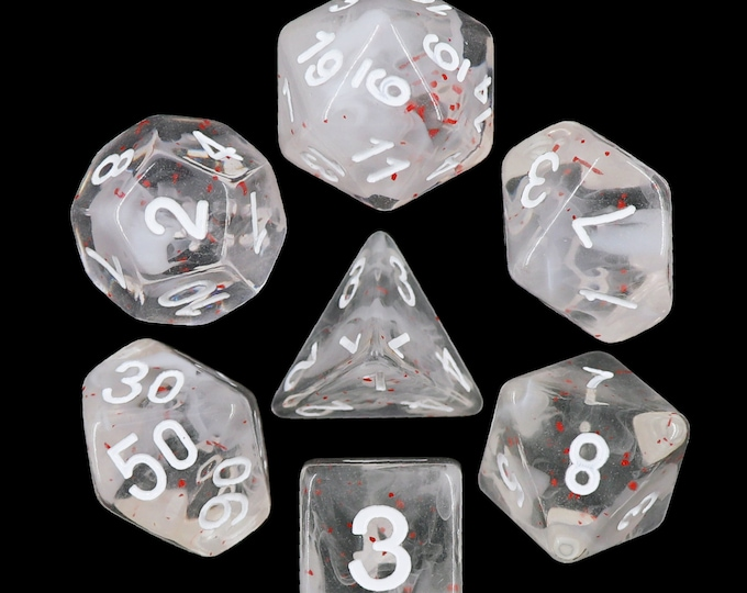 HDDice 7 Die Polyhedral Swirl Particle Dice Set (Blossom Snowfall - White with Red/White) - Purchasing Cooperative