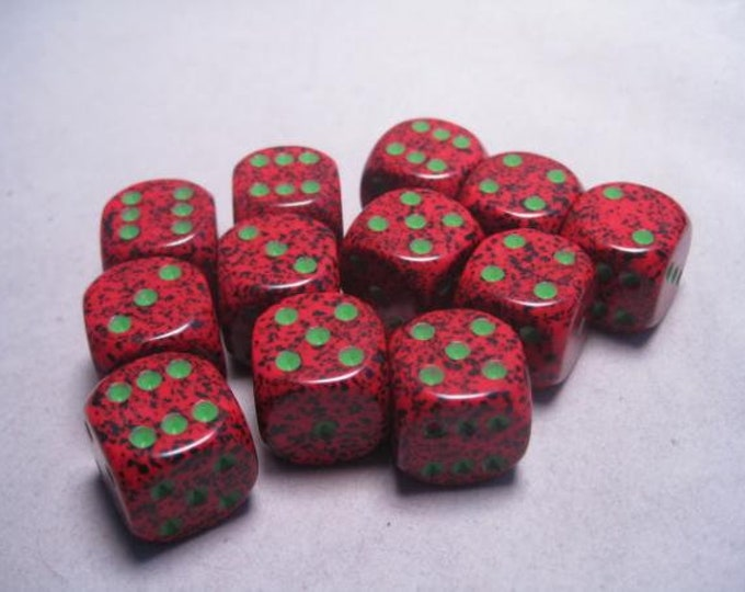 Strawberry Speckled 16mm d6 (12) - CHX25704 - Chessex