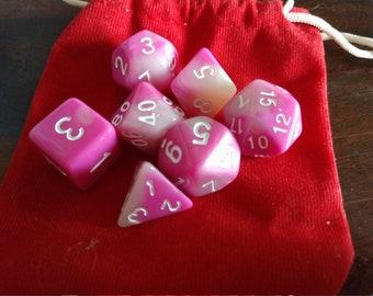 Angelic Pink - 7-Die Polyhedral Dice Set