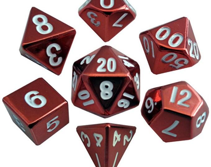 7-Die Set Metal: Red Painted - MTD011 - Metallic Dice Games