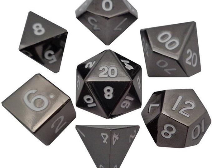 7-Die Set Metal: Sterling Grey - MTD008 - Metallic Dice Games