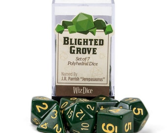 WizDice 7 Die Polyhedral Set in Velvet Pouch - Blighted Grove