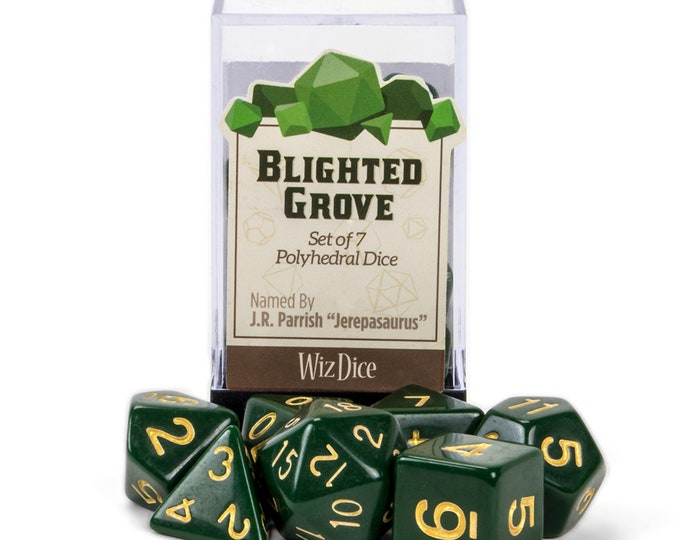 WizDice 7 Die Polyhedral Set in Velvet Pouch-Blighted Grove - Purchasing Cooperative