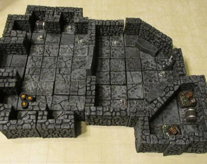 28mm Hand Painted Terrain: Dungeon Crypt w/Secret Treasure Room - Legendary Realms Terrain