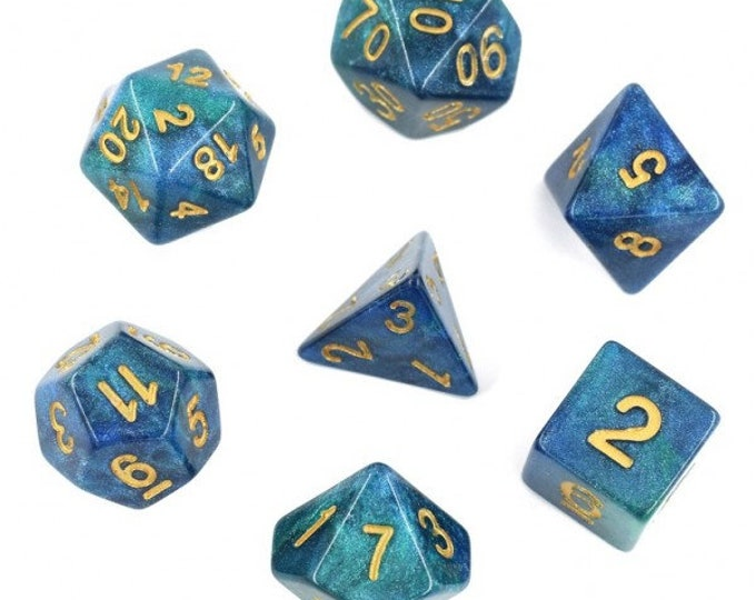 HDDice 7 Die Polyhedral Galaxy Dice Set (Blue and Green) - Purchasing Cooperative