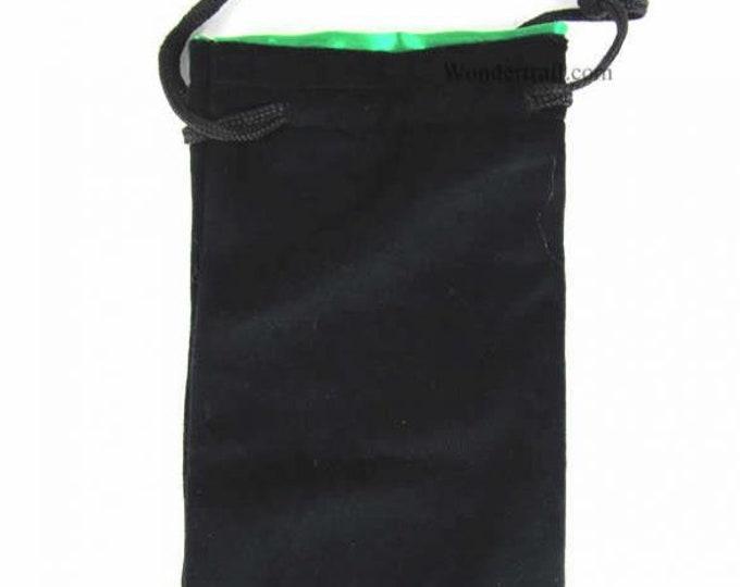 Dice Bags: Black Velvet Dice Bag w/ Green Satin Lining (Large)