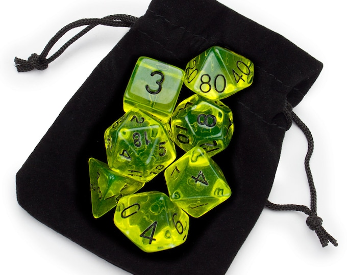 WizDice 7 Die Polyhedral Set in Velvet Pouch- Boiled Bile - Purchasing Cooperative