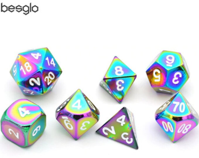 Besglo 7 Die Polyhedral Rainbow Metallic Dice Set - Purchasing Cooperative