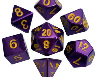 7-Die Set Metal: Purple Painted - MTD013 - Metallic Dice Games
