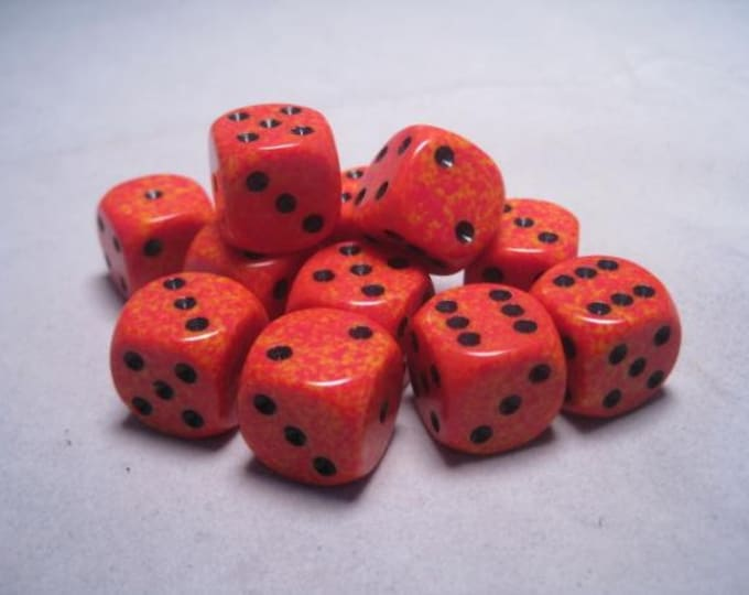 Fire Speckled 16mm d6 (12) - CHX25703 - Chessex