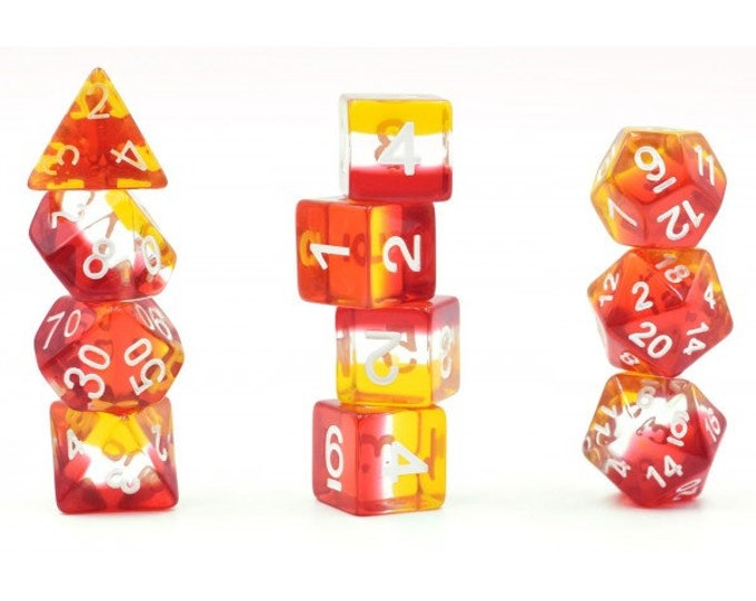 HDDice 11 Die Polyhedral Transparent Layered Red/Yellow/White Set - Purchasing Cooperative