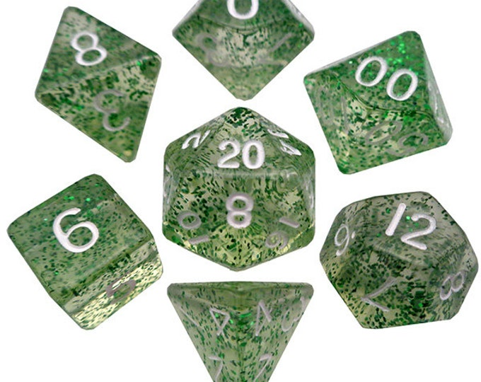 7-Die Set Ethereal: Green/White - MTD205 - Metallic Dice Games