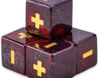 WizDice Fudge/Fate Dice Handmade Stone Set (Poppy Jasper 4-pack)