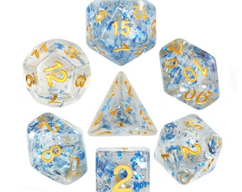 HDDice 7 Die Polyhedral Flaked Dice Set (Metallic Sapphire) - Purchasing Cooperative